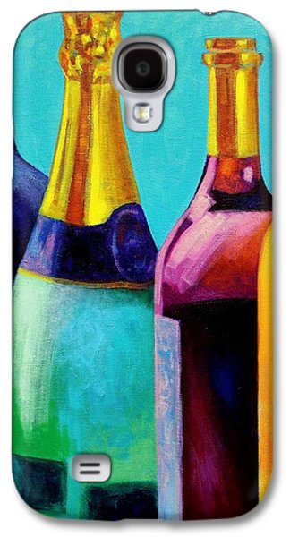 Wine Canvas Paintings Galaxy S4 Cases - Four Bottles Galaxy S4 Case by John  Nolan