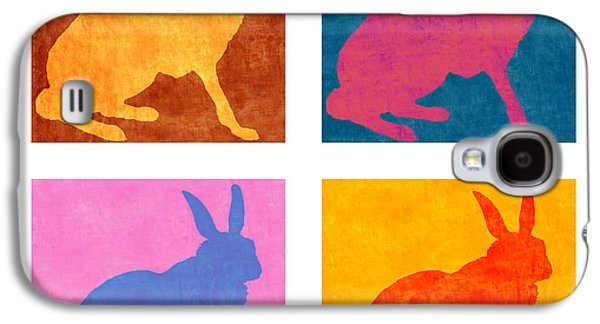 Rabbit Digital Galaxy S4 Cases - Four Colorful Rabbits Galaxy S4 Case by Carol Leigh