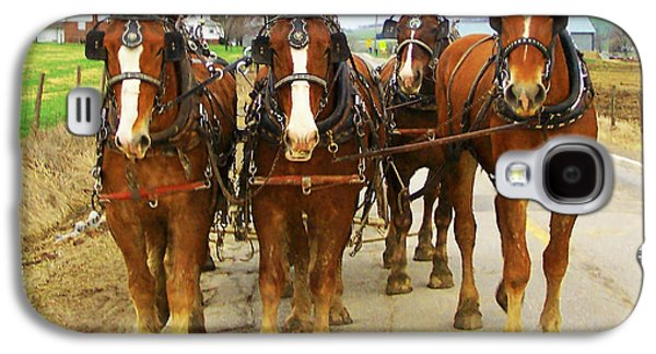 Amish Photographs Galaxy S4 Cases - Four Horse Power Galaxy S4 Case by B Wayne Mullins