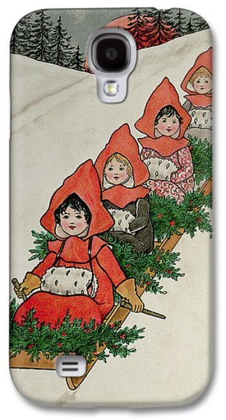 Sledge Galaxy S4 Cases - Four Little Girls On A Sledge Colour Lithograph Galaxy S4 Case by Florence Hardy