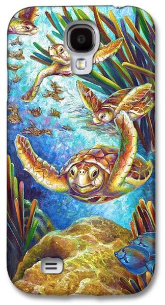 Brain Paintings Galaxy S4 Cases - Four Loggerhead Turtles Galaxy S4 Case by Nancy Tilles