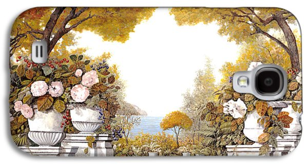 Autumn Paintings Galaxy S4 Cases - four seasons-autumn on lake Maggiore Galaxy S4 Case by Guido Borelli