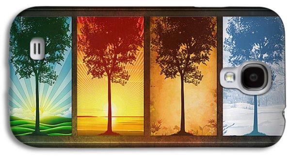 Tree Print Mixed Media Galaxy S4 Cases - Four Seasons Galaxy S4 Case by Bedros Awak