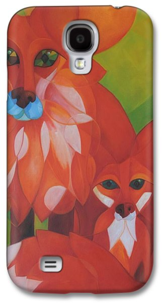 Fox Kit Paintings Galaxy S4 Cases - Fox Haven Galaxy S4 Case by Denise Fisher