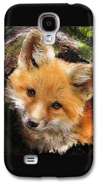 Fox Digital Galaxy S4 Cases - Fox Kit In Log Galaxy S4 Case by Jane Schnetlage