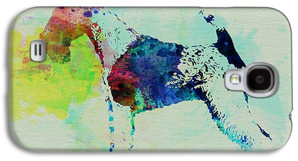 Dogs Mixed Media Galaxy S4 Cases - Fox Terrier Watercolor Galaxy S4 Case by Naxart Studio