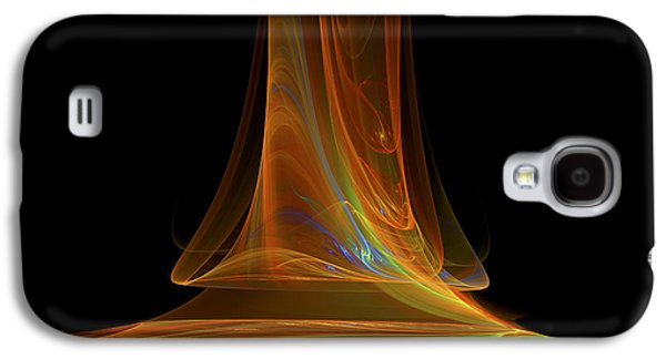 Abstract Digital Art Galaxy S4 Cases - Fractal Flame Art Abstract Light Beam Black and Orange Galaxy S4 Case by Keith Webber Jr