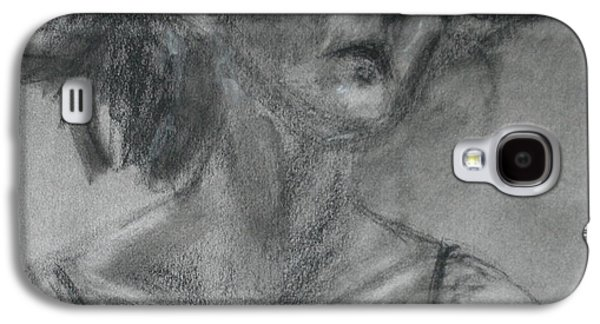 Spiritual Portrait Of Woman Drawings Galaxy S4 Cases - Gathering Strength - Original Charcoal Drawing - Contemporary Impressionist Art Galaxy S4 Case by Quin Sweetman