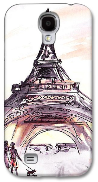 Dog Walking Galaxy S4 Cases - France Sketches Walking To The Eiffel Tower Galaxy S4 Case by Irina Sztukowski
