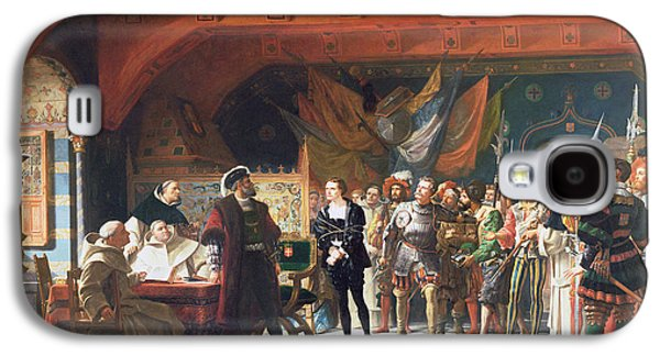 Reconstruction Galaxy S4 Cases - Francis De Bonnivard 1496-1570 The Prisoner Of Chillon, Brought Before The Duke Of Savoy In 1530 Galaxy S4 Case by Jules Hippolyte Ravel