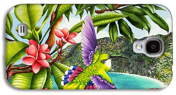 Flying Animal Galaxy S4 Cases - Frangipani Flights Of Fancy Galaxy S4 Case by Carolyn Steele