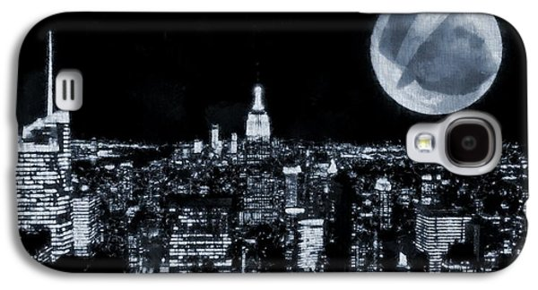 Man In The Moon Galaxy S4 Cases - Frank Sinatra New York City Moon Galaxy S4 Case by Dan Sproul