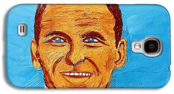 Frank Sinatra Paintings Galaxy S4 Cases - Frank Sinatra Oil Painting Galaxy S4 Case by Saundra Myles