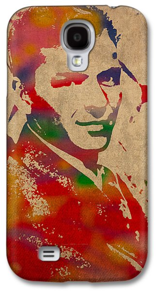 Singer Mixed Media Galaxy S4 Cases - Frank Sinatra Watercolor Portrait on Worn Distressed Canvas Galaxy S4 Case by Design Turnpike