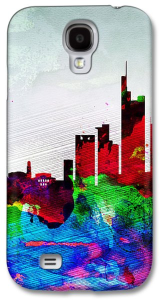 Architectural Digital Art Galaxy S4 Cases - Frankfurt Watercolor Skyline Galaxy S4 Case by Naxart Studio