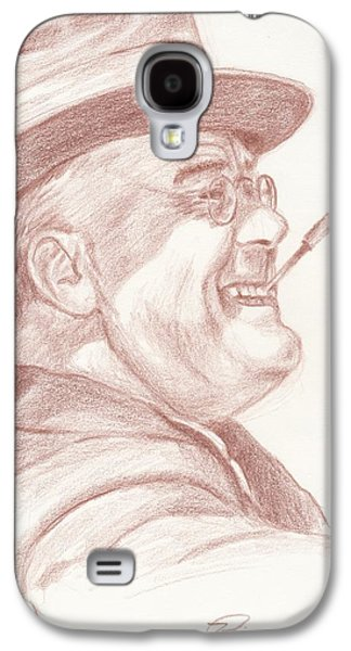 Franklin Drawings Galaxy S4 Cases - Franklin D. Roosevelt Galaxy S4 Case by Reggie Rivera