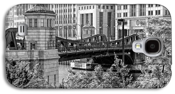 Chicago River Galaxy S4 Cases - Franklin Street Bridge Black and White Galaxy S4 Case by Christopher Arndt