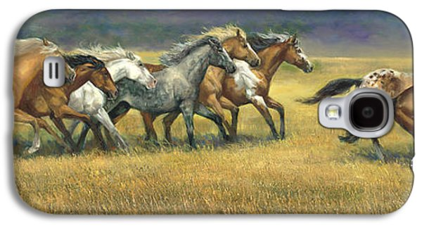 Wild Horse Paintings Galaxy S4 Cases - Free and Wild Galaxy S4 Case by Laurie Hein
