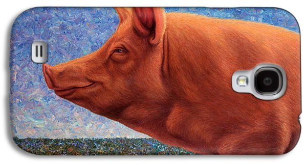 Smile Galaxy S4 Cases - Free Range Pig Galaxy S4 Case by James W Johnson