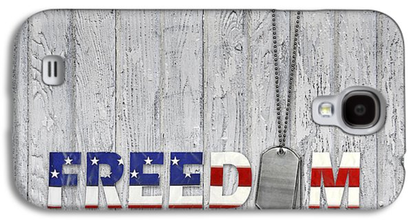 4th July Mixed Media Galaxy S4 Cases - Freedom Dog Tags Galaxy S4 Case by Maria Dryfhout