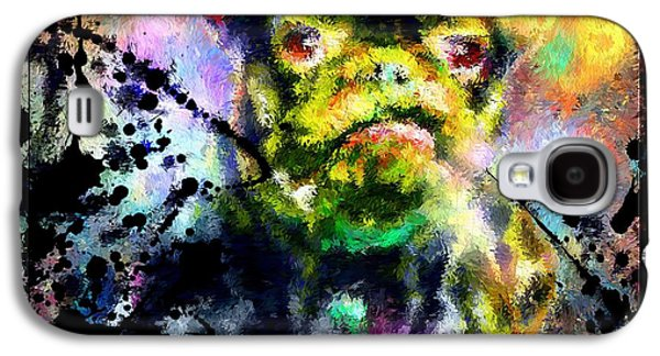 Dog Close-up Paintings Galaxy S4 Cases - French Bulldog Galaxy S4 Case by Daniel Janda
