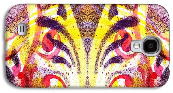 Yellow Line Galaxy S4 Cases - French Curve Abstract Movement VI Mystic Flower Galaxy S4 Case by Irina Sztukowski