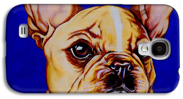 Dog Close-up Paintings Galaxy S4 Cases - Frenchie Galaxy S4 Case by Lina Tricocci