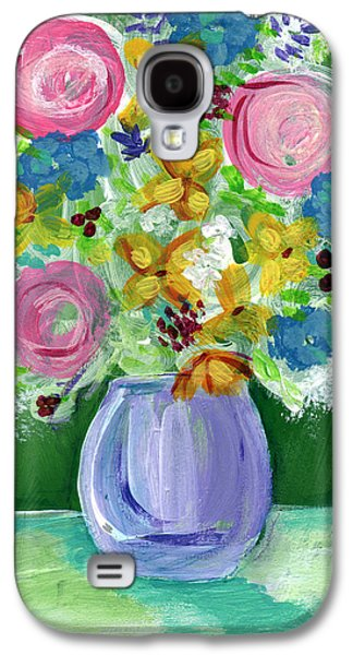 Still Life Mixed Media Galaxy S4 Cases - Fresh Flowers- Painting Galaxy S4 Case by Linda Woods