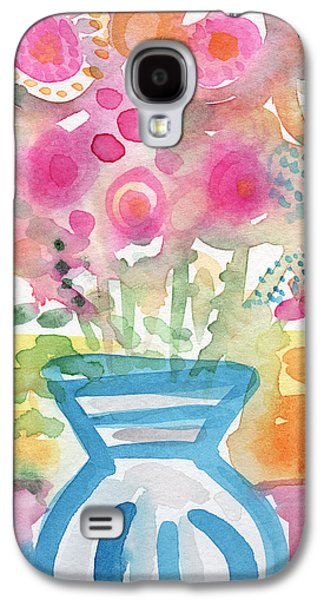 Designs In Nature Galaxy S4 Cases - Fresh Picked Flowers in a Blue Vase- contemporary watercolor painting Galaxy S4 Case by Linda Woods