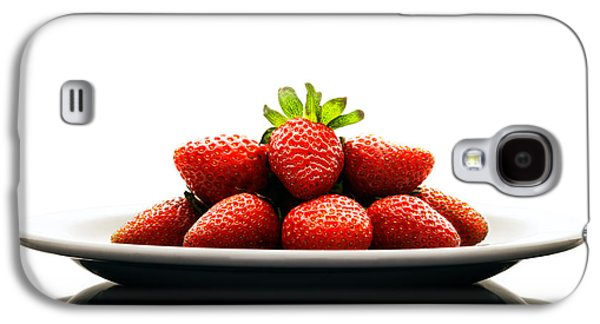 Healthy Galaxy S4 Cases - Fresh strawberries on Plate Galaxy S4 Case by Johan Swanepoel