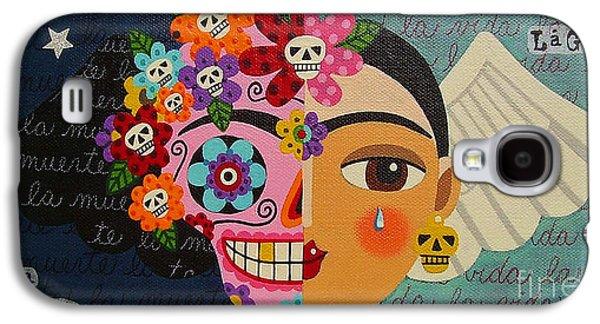 Reproduction Galaxy S4 Cases - Frida Kahlo Sugar Skull Angel Galaxy S4 Case by LuLu Mypinkturtle