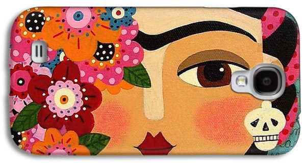 Diego Rivera Galaxy S4 Cases - Frida Kahlo with Flowers and Skull Galaxy S4 Case by LuLu Mypinkturtle