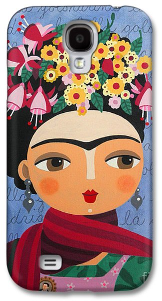 Reproduction Galaxy S4 Cases - Frida Kahlo with Fuschias and Lantanas Galaxy S4 Case by LuLu Mypinkturtle
