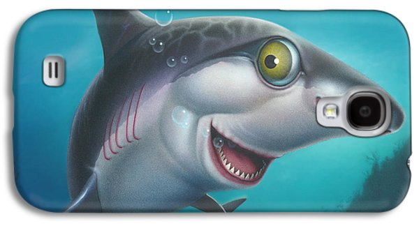 Shark Paintings Galaxy S4 Cases - Friendly Shark Cartoony cartoon - under sea - square format Galaxy S4 Case by Walt Curlee