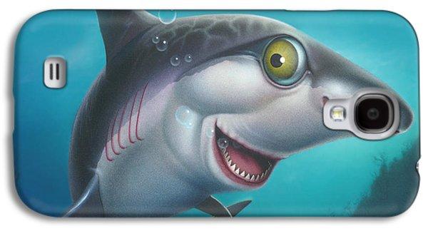 Shark Paintings Galaxy S4 Cases - Friendly Shark Cartoony cartoon - under sea - square format Galaxy S4 Case by Walt Curlee