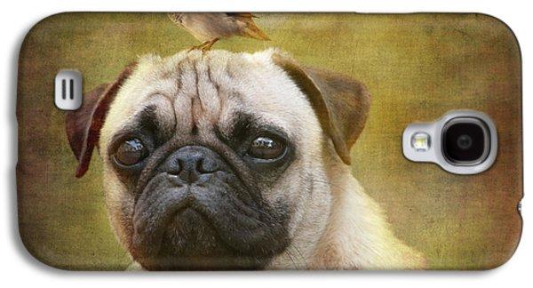 Puppies Digital Galaxy S4 Cases - Friends like pug and bird Galaxy S4 Case by Barbara Orenya