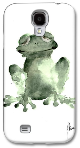 Frog Painting Watercolor Art Print Green Frog Large Poster Galaxy S4 Case by Joanna Szmerdt