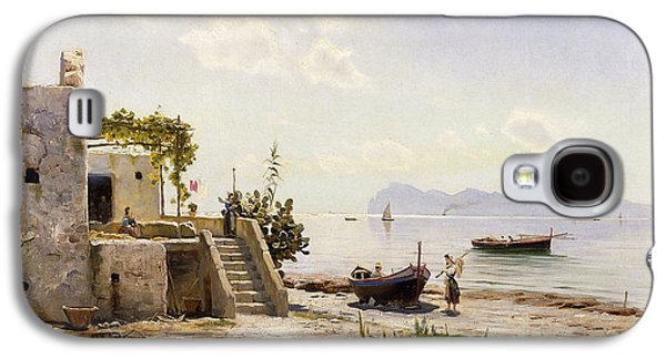 Water Vessels Paintings Galaxy S4 Cases - From Sorrento Towards Capri Galaxy S4 Case by Peder Monsted