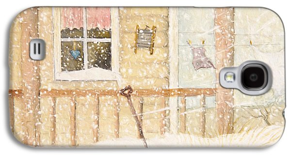 Quiet Time Galaxy S4 Cases - Front porch in snow with clothesline/ digital watercolor Galaxy S4 Case by Sandra Cunningham
