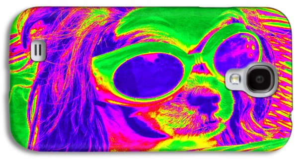Recently Sold -  - Puppy Digital Galaxy S4 Cases - Front Seat Driver Pop Art - Puppy Mania Galaxy S4 Case by Ella Kaye Dickey