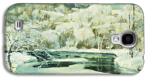 Snowy Day Paintings Galaxy S4 Cases - Frosted Trees Galaxy S4 Case by Jonas Lie
