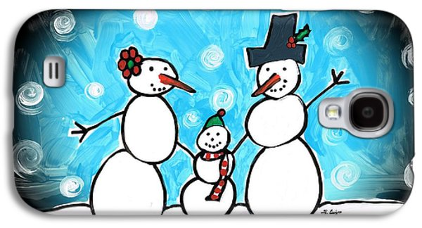 Christmas Art Galaxy S4 Cases - Frosty Family 1 Merry Christmas by Sharon Cummings Galaxy S4 Case by Sharon Cummings