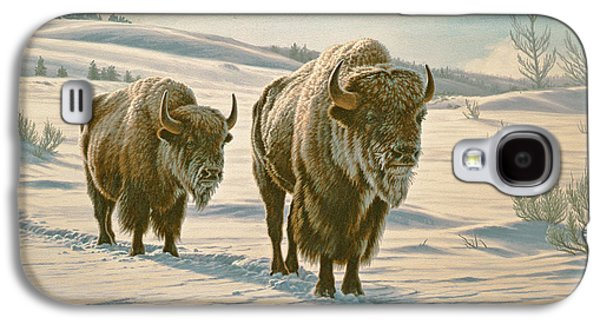 Bison Paintings Galaxy S4 Cases - Frosty Morning - Buffalo Galaxy S4 Case by Paul Krapf