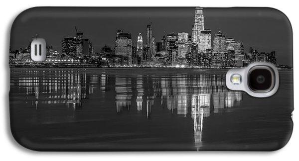 Urban Galaxy S4 Cases - Frozen Lower Manhattan NYC BW Galaxy S4 Case by Susan Candelario