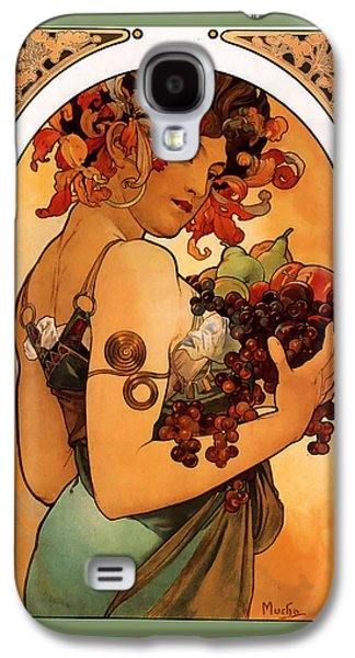 Grapes Art Deco Galaxy S4 Cases - Fruit Galaxy S4 Case by Alphonse Maria Mucha