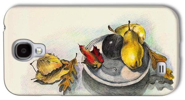 Plum Drawings Galaxy S4 Cases - Fruit and Autumn Leaves Galaxy S4 Case by Judy Swerlick