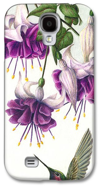 Colored Pencil Paintings Galaxy S4 Cases - Fuchsia Beauty Galaxy S4 Case by Pat Erickson