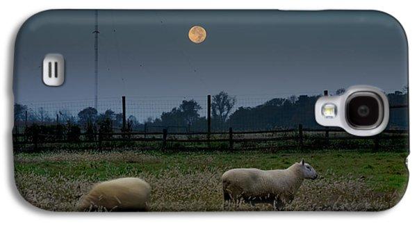 Sheep Digital Art Galaxy S4 Cases - Full Moon at Erdenheim Farm Galaxy S4 Case by Bill Cannon