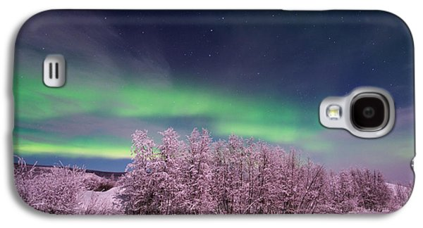 Snowy Night Night Galaxy S4 Cases - Full Moon Lights Galaxy S4 Case by Priska Wettstein