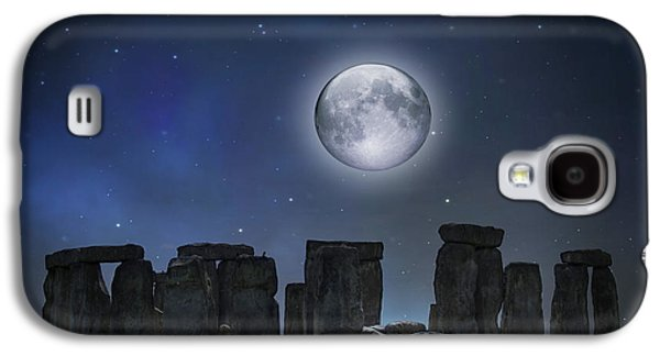 Civilization Galaxy S4 Cases - Full Moon Over Stonehenge Galaxy S4 Case by Juli Scalzi